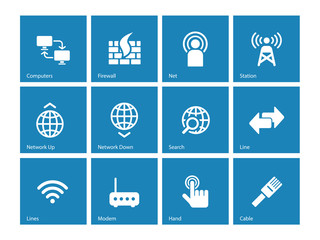 Networking icons on blue background.
