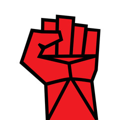 Fist red clenched hand vector Revolution  illustration