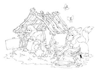 Füchse, Fuchs, Familie, Fuchsbau, Hausbau