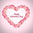 Beautiful heart of red rose petals. Vector illustration