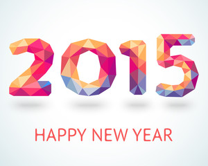Happy New Year 2015 colorful greeting card