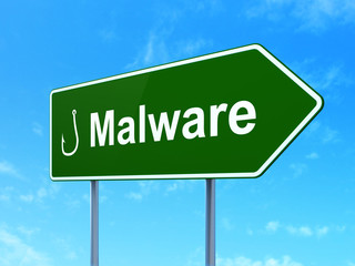 Security concept: Malware and Fishing Hook on road sign