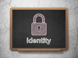 Safety concept: Closed Padlock and Identity on chalkboard