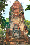 The ruins of the ancient city. Buddha statue. Ayutthaya