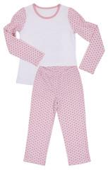 Pink childrens girls pajama set isolated on white