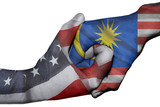 Handshake between United States and Malaysia