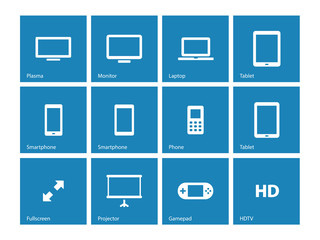 Screens icons on blue background.