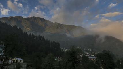Daramkhot village misty clouds time lapse