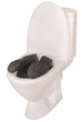 White toilet bowl and boots (Clipping path)