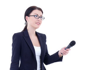 female reporter with microphone isolated on white