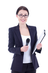 portrait of female journalist with microphone and clipboard isol