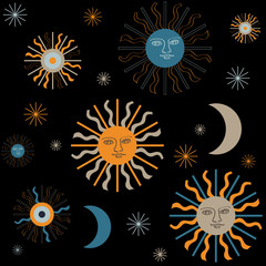 "Vector seamless pattern ""Sun and Moon"""