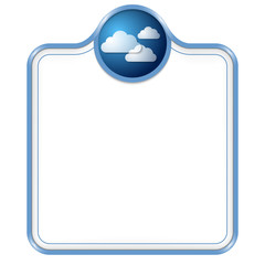 blue vector box for text with cloud