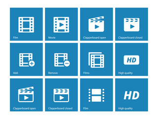 Video icons on blue background.