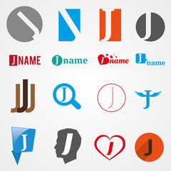Set of alphabet symbols of letter J, logos, icons, vector