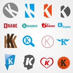 Set of alphabet symbols of letter K, logos, icons, vector