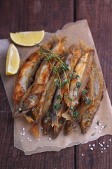 capelin fried with lemon and thyme