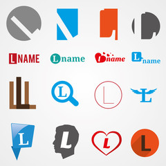Set of alphabet symbols of letter L, logos, icons, vector