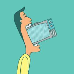 Man consuming television