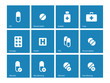 Pills and capsules icons on blue background.