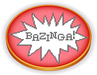 Bazinga Embroidery, fun cross stitch design on retro sewing hoop