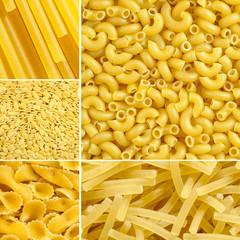 Elbow, Spaghetti, Farfalle, Noodle pasta collage