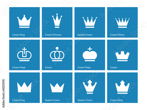 Crown icons on blue background.