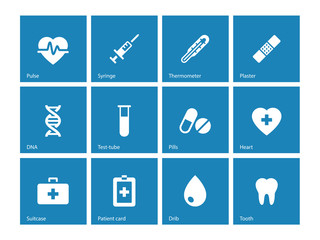 Medical icons on blue background.