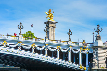 Pont Alexandre III is an ornate bridge that spans the Seine,