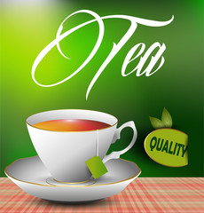 An example of a cup of tea on the table. eps 10 vector
