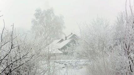 village winter snow day. Full HD