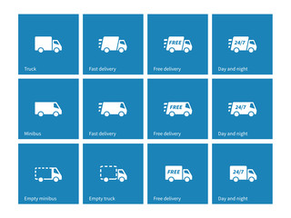 Delivery Trucks icons on blue background.