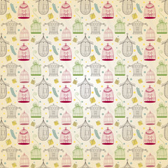 Vintage birdcages collection. Pattern background