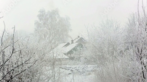village winter snow day. Full HD