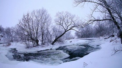 Winter scenic of the River Krynka, Donetsk region, Ukraine