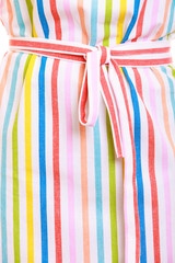 Closeup of colorful striped kitchen apron as background