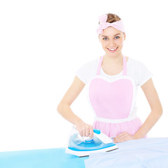 Woman ironing in retro style