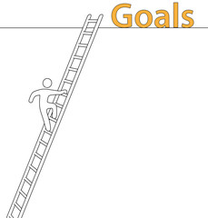 Person climb up ladder achieve high goals