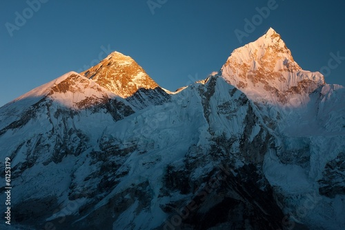 Summit of Mt. Everest and Nuptse at Sunset