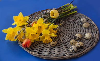 Easter composition of a bouquet of  narcissus