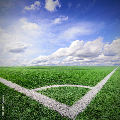 Corner of a soccer field and blue sky