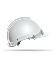 side view of white safety helmet isolated background