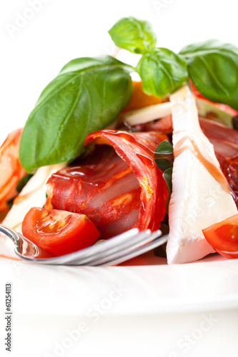 Tasty cheese and tomato appetizer