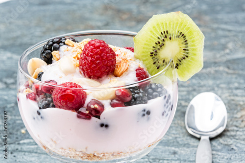 Delicous berry parfait garnished with kiwifruit