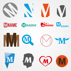 Set of alphabet symbols of letter M, logos, icons, vector