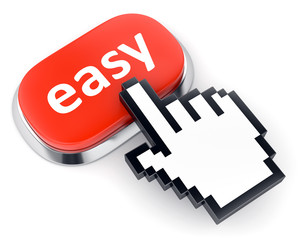 Red Easy button and hand cursor