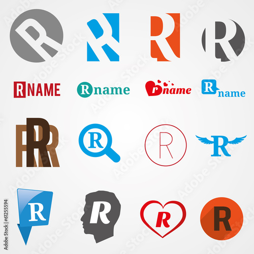 Set of alphabet symbols of letter R, logos, icons, vector