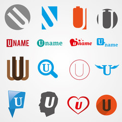 Set of alphabet symbols of letter U, logos, icons, vector