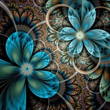 Colorful light fractal flower or butterfly