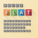 Rounded Flat Font and Numbers in Square, Eps 10 Vector, Editable